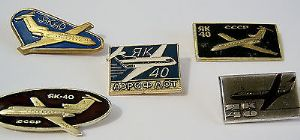 Original Russian Pin Badge Yakolev Yak-40 - Aeroflot Passenger Workhorse x 5